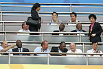 19 August 2008: FIFA president Sepp Blatter (first row, second from right) attends the match.  The men's Olympic soccer team of Nigeria defeated the men's Olympic soccer team of Belgium 4-1 at Shanghai Stadium in Shanghai, China in a Semifinal match in the Men's Olympic Football competition.