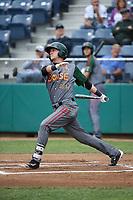 Matt McLaughlin (20) of the Boise Hawks bats against the Everett AquaSox at Everett Memorial Stadium on July 21, 2017 in Everett, Washington. Boise defeated Everett, 10-4. (Larry Goren/Four Seam Images)