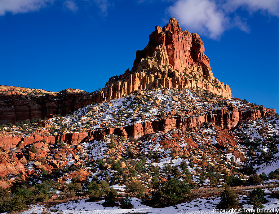 Capitol Reef National Park, UT <br /> Eph Hanks Tower stands above Capitol Wash in evening light