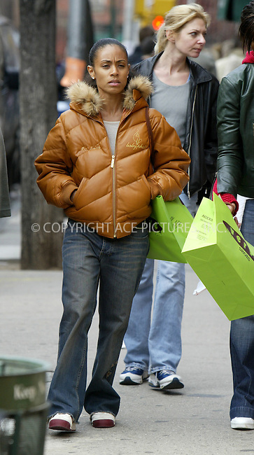 "Actress Jada Pinkett Smith took advantage of the spring weather to get out in trendy Greenwich village to do some shopping. Jada is married to actor Will Smith who is in town working on his new movie ""First Last Kiss"". March 28 2004. Please byline: ACE Pictures.   ..*PAY-PER-USE*      ....IMPORTANT: Please note that our old trade name, NEW YORK PHOTO PRESS (NYPP), is replaced by our new name, ACE PICTURES. New York Photo Press and ACE Pictures are owned by All Celebrity Entertainment, Inc.......All Celebrity Entertainment, Inc:  ..contact: Alecsey Boldeskul (646) 267-6913 ..Philip Vaughan (646) 769-0430..e-mail: info@nyphotopress.com"