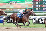 Firenze Fire  (no. 3) wins the Grade III 2017 Sanford Stakes  for two year olds on July 22 at Saratoga Race Course, Saratoga Springs, NY.  Irad Ortiz rode the winner (trained by Jason Servis) to a one length win.  (Bruce Dudek/Eclipse Sportswire)