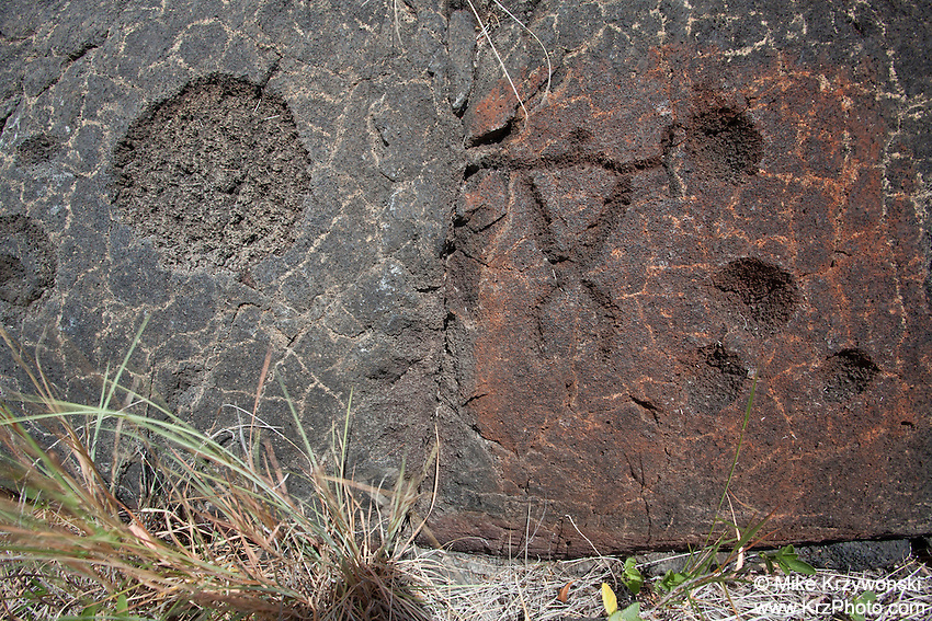 Petroglyphs at the Pu'u Loa Petroglyph Field in Hawaii Volcanoes National Park, Big Island, Hawaii