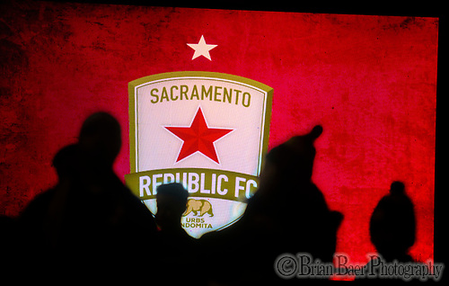 Sacramento Republic FC fans enter Papa Murphy Field near the lighted LED sign as the as the Sacramento Republic FC host the Seattle Sounders in a friendly match, Thursday Feb 15, 2018.  <br /> photo by Brian Baer (Brian Baer/Special to The Bee)