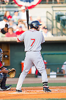 Stephen Drew (7) of the Greenville Drive at bat against the Charleston RiverDogs at Joseph P. Riley, Jr. Park on May 26, 2014 in Charleston, South Carolina.  The Drive defeated the RiverDogs 11-3.  (Brian Westerholt/Four Seam Images)
