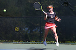 24 April 2016: Miami's Sinead Lohan (IRL). The University of North Carolina Tar Heels played the University of Miami Hurricanes at the Cary Tennis Center in Cary, North Carolina in the Atlantic Coast Conference Women's Tennis Tournament Championship. North Carolina won the match 4-2.