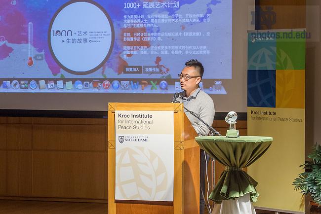 Apr. 14, 2015; Jian Yi speaks after accepting the 2015 Kroc Institute Distinguished Alumni Award. (Photo by Matt Cashore/University of Notre Dame)