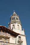 California, San Luis Obispo County: Hearst Castle State Park, formerly the palatial hillside home of publisher William Randoph Hearst.  Tower in castle..Photo caluis203-70943.Photo copyright Lee Foster, www.fostertravel.com, 510-549-2202, lee@fostertravel.com