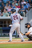 Scott Sizemore (25) of the Syracuse Chiefs at bat against the Charlotte Knights at BB&T BallPark on June 1, 2016 in Charlotte, North Carolina.  The Knights defeated the Chiefs 5-3.  (Brian Westerholt/Four Seam Images)