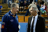 1st November 2019; Leichhardt Oval, Sydney, New South Wales, Australia; A League Football, Sydney Football Club versus Newcastle Jets; Ernie Merrick coach of Newcastle Jets and coach Steve Corica of Sydney chat before the game - Editorial Use