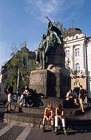 Slowenien, Ljubljanal Preseren-Denkmal auf Presernov Trg