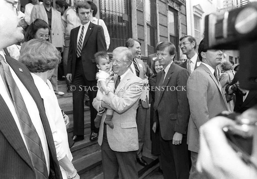 New York NY 4 June 1987 - Fmr US President and head of Habitat for Humanity, Jimmy Carter, visits Mascot Flats, at 742 E. 6 St..
