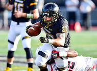 Baltimore, MD - OCT 14, 2017: Towson Tigers running back Adrian Platt (27)is tackled by Richmond Spiders linebacker Dale Matthews Jr. (22) during game between Towson and Richmond at Johnny Unitas Stadium in Baltimore, MD. The Spiders defeated the Tigers 23-3. (Photo by Phil Peters/Media Images International)