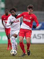 Florian Antognelli of AS Monaco FC Youth & Kazaiah Sterling of Spurs U19 during the UEFA Youth League round of 16 match between Tottenham Hotspur U19 and Monaco at Lamex Stadium, Stevenage, England on 21 February 2018. Photo by Andy Rowland.
