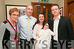 Baby Elizabeth O'Halloran with her parents PJ & Theresa O'Halloran, Kilmorna and god parents Bridie O'Halloran & Jeremiah Sheehan who was christened in Duagh Church By Fr. McMahon on Saturday last and afterwards at Leen, Hotel , Abbeyfeale.