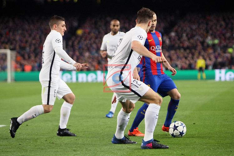 UEFA Champions League 2016/2017.<br /> Round of 16 2nd leg<br /> FC Barcelona vs Paris Saint-Germain: 6-1.<br /> Marco Verratti, Thomas Meunier &amp; Andres Iniesta.