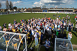 Lowestoft Town 2 Barrow 3, 25/04/2015. Crown Meadow, Conference North. Barrow make the six-hour trip to Suffolk needing a win to secure the title. Barrow supporters celebrate with the team at the final whistle. Photo by Simon Gill.