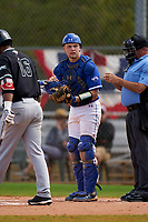 Indiana State Sycamores catcher Grant Magill (5) during a game against the Chicago State Cougars on February 23, 2020 at North Charlotte Regional Park in Port Charlotte, Florida.  Chicago State defeated Indiana State 3-0.  (Mike Janes/Four Seam Images)