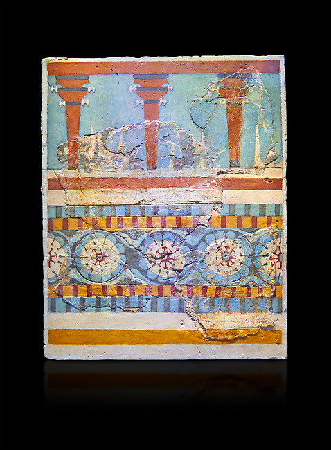 """The Minoan """"Three columned Shrine"""" minture fresco Knossos-Palace, 1700-1450 BC . Heraklion Archaeological Museum. black background<br /> <br /> The freco depicts a portico with columns on which double axes are fixed, separated by horns of consecration, on a balustrade decorated with rosettes"""
