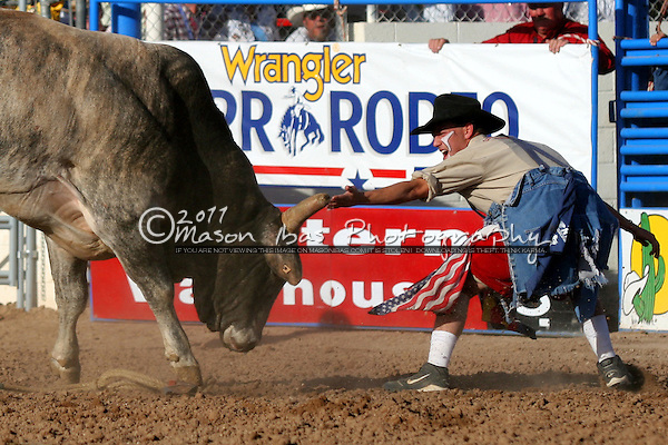 A rodeo clown distracts a bull during the La Fiesta de Los Vaqueros Pro Rodeo in Tucson. The Rodeo, a Tucson Favorite, covers nine days each February...February 26th 2006