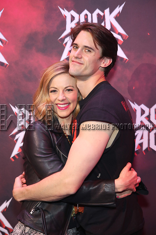 "Kirsten Scott and CJ Eldred during the tech rehearsal for ""Rock of Ages"" 10th Anniversary Production on June 13, 2019 at the New World Stages in New York City."