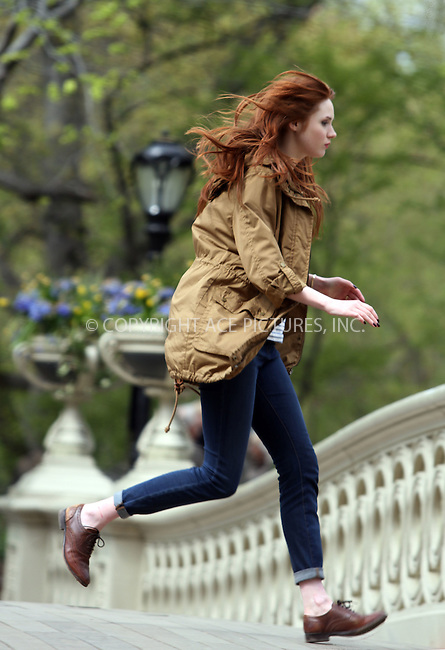 WWW.ACEPIXS.COM . . . . . ....April 11 2012, New York City....Actor Karen Gillan films a scene for the  cult BBC television show 'Dr. Who' in Central Park on April 11 2012 in New York City......Please byline: CURTIS MEANS - ACE PICTURES.... *** ***..Ace Pictures, Inc:  ..Philip Vaughan (212) 243-8787 or (646) 769 0430..e-mail: info@acepixs.com..web: http://www.acepixs.com