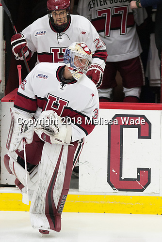 Michael Lackey (Harvard - 35), Adam Baughman (Harvard - 20) - The visiting Colgate University Raiders shut out the Harvard University Crimson for a 2-0 win on Saturday, January 27, 2018, at Bright-Landry Hockey Center in Boston, Massachusetts.The visiting Colgate University Raiders shut out the Harvard University Crimson for a 2-0 win on Saturday, January 27, 2018, at Bright-Landry Hockey Center in Boston, Massachusetts.