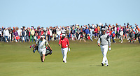 Massive gallery watch Henrik Stenson (SWE) lead Thongchai Jaidee (THA) down the 8th during Round Two of the 2015 Nordea Masters at the PGA Sweden National, Bara, Malmo, Sweden. 05/06/2015. Picture David Lloyd | www.golffile.ie