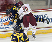 Craig Wyszomirski (Merrimack - 2), Cam Spiro (BC - 15) - The Boston College Eagles defeated the visiting Merrimack College Warriors 2-1 on Wednesday, January 21, 2015, at Kelley Rink in Conte Forum in Chestnut Hill, Massachusetts.