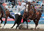 Tom Lewis competes in the steer wrestling event at the Reno Rodeo, in Reno, Nev. on Friday night, June 22, 2012..Photo by Cathleen Allison