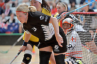 New Zealand's Johanna Moss in action during the World Floorball Championships 2017 Qualification for Asia Oceania Region - New Zealand v Malaysia at ASB Sports Centre , Wellington, New Zealand on Saturday 4 February 2017.<br /> Photo by Masanori Udagawa<br /> www.photowellington.photoshelter.com.