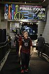 DALLAS, TX - April 2: Bianca Cuevas-Moore #1 of the South Carolina Gamecocks departs the team bus during the 2017 Women's Final Four at American Airlines Center on April 2, 2017 in Dallas, Texas. (Photo by Evert Nelson/NCAA Photos via Getty Images)