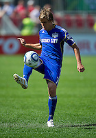 05 June 2010: Kansas City Wizards defender Chance Myers #7 in action during a game between the Kansas City Wizards and Toronto FC at BMO Field in Toronto..The game ended in a 0-0 draw.