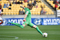 Andrew Redmayne ( GK ) in action during the A League - Wellington Phoenix v Melbourne City at Westpac Stadium, Wellington, New Zealand on Sunday 30 November 2014.