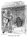 Re-opening the Door. (Ramsay MacDonald, TUC Orders in pocket, opens the black panther's cage while a notice above reads 'General Strike. CAUTION. This Animal is DANGEROUS.)