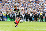 Craig Clay of Grimsby Town takes a penalty in the shoot out during the 2015 Vanarama Conference Promotion Final match between Grimsby Town and Bristol Rovers at Wembley Stadium, London<br /> Picture by David Horn/eXtreme aperture photography +44 7545 970036<br /> 17/05/2015