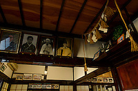 Old photographs of Yamabushi, Daishinbo lodging house, Dewa Sanzan, Tsuruoka-city, Yamagata Prefecture, Japan, October 18, 2012.
