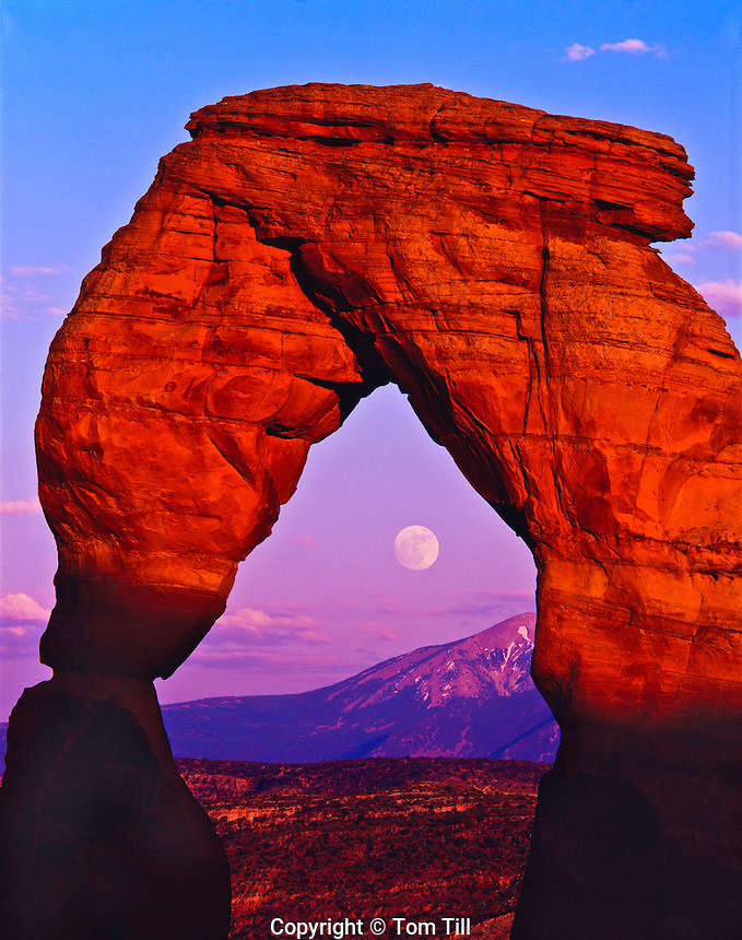 Rare Summer Solstice Moonrise over the La Sal Mountains at Delicate Arch , Arches National Park, Utah