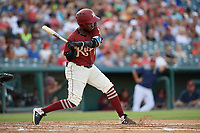 Frisco RoughRiders Michael De Leon (1) bats during a Texas League game against the Amarillo Sod Poodles on July 12, 2019 at Dr Pepper Ballpark in Frisco, Texas.  (Mike Augustin/Four Seam Images)