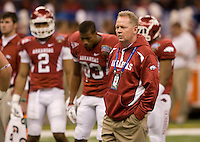 Arkansas head coach Bobby Petrino is pictured during the game against Ohio State during 77th Annual Allstate Sugar Bowl Classic at Louisiana Superdome in New Orleans, Louisiana on January 4th, 2011.  Ohio State defeated Arkansas, 31-26.
