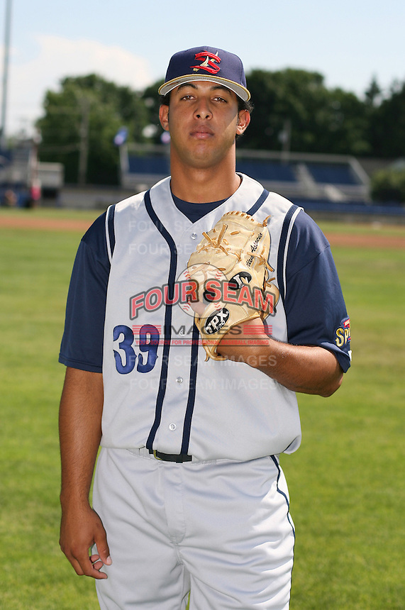2007:  Dionis Rodriguez of the State College Spikes poses for a photo prior to a game vs. the Batavia Muckdogs in New York-Penn League baseball action.  Photo By Mike Janes/Four Seam Images