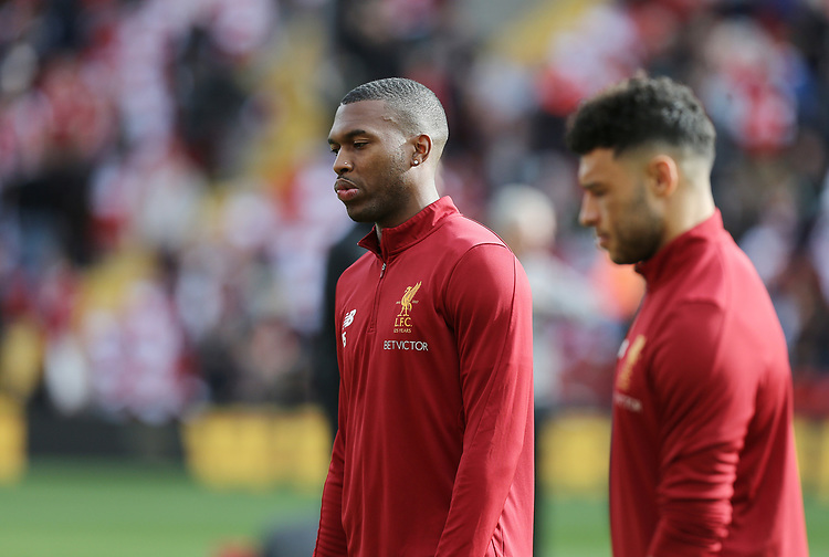 Liverpool's Daniel Sturridge (left) and Alex Oxlade-Chamberlain during the pre-match warm-up <br /> <br /> Photographer Rich Linley/CameraSport<br /> <br /> The Premier League - Liverpool v Manchester United - Saturday 14th October 2017 - Anfield - Liverpool<br /> <br /> World Copyright &copy; 2017 CameraSport. All rights reserved. 43 Linden Ave. Countesthorpe. Leicester. England. LE8 5PG - Tel: +44 (0) 116 277 4147 - admin@camerasport.com - www.camerasport.com