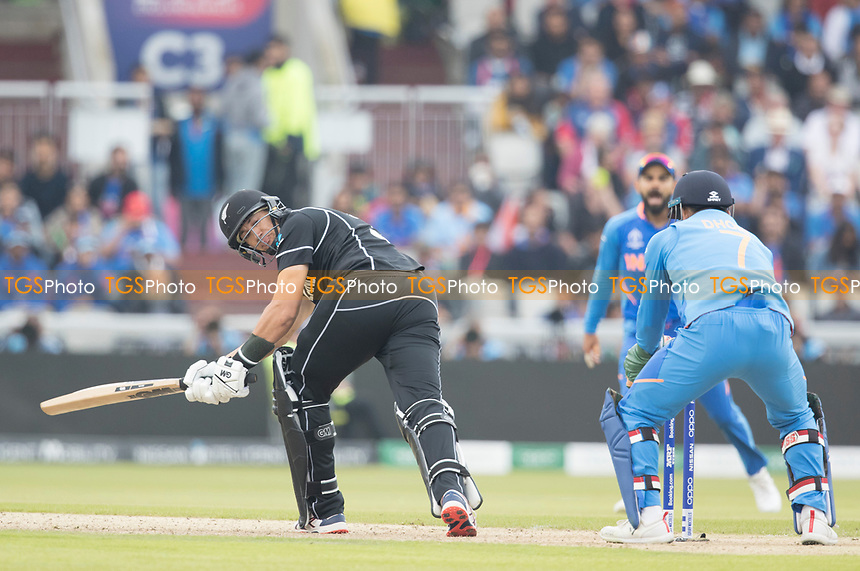 Ross Taylor (New Zealand) looks behind as the ball beats everything during India vs New Zealand, ICC World Cup Semi-Final Cricket at Old Trafford on 9th July 2019
