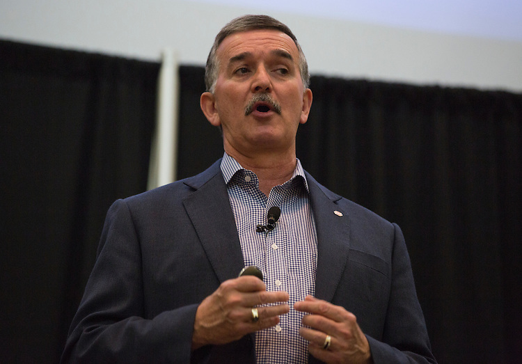 John Gainor, the CEO and president of Dairy Queen and a 1978 Ohio University alumnus, speaks during the College of Business's Marketing Day on March 17, 2016.