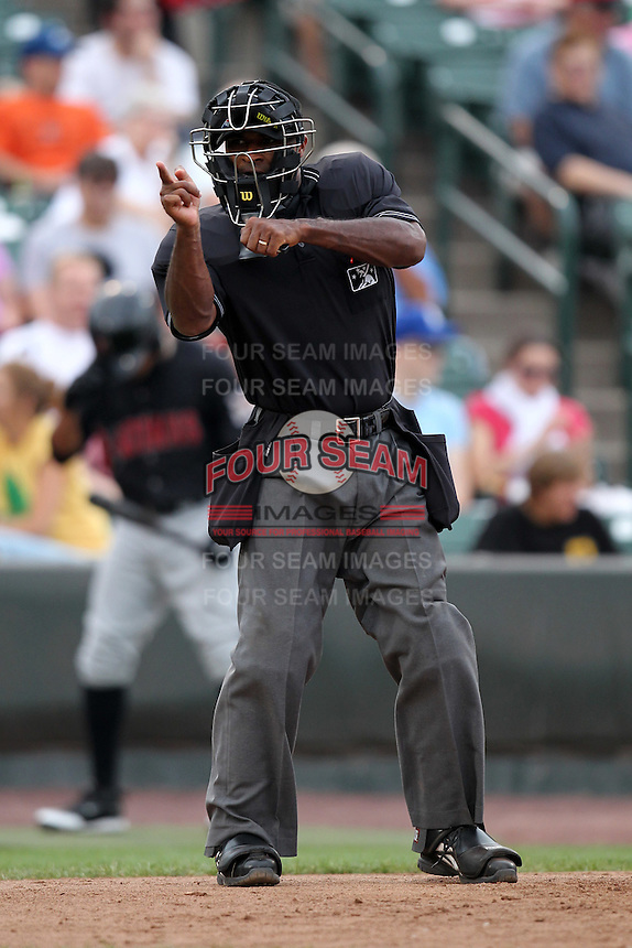 Umpire Alan Porter during a game at Frontier Field in Rochester, New York;  July 17, 2010.  Photo By Mike Janes/Four Seam Images
