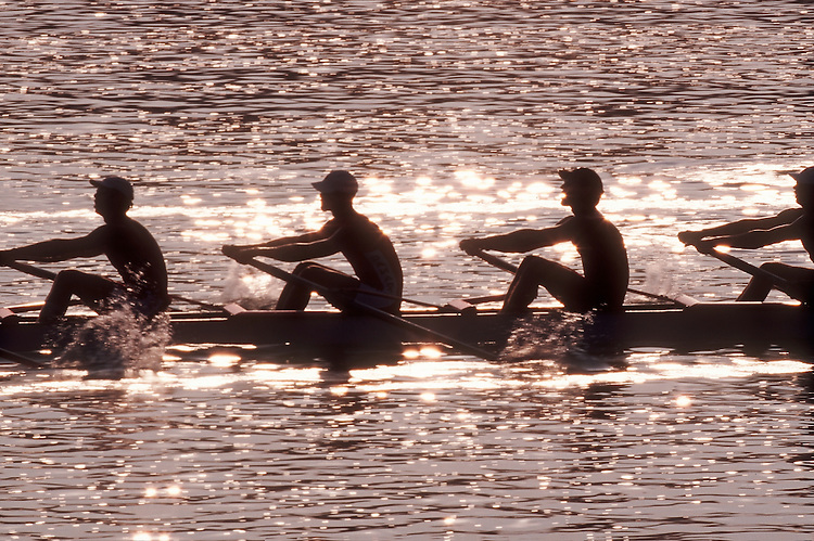 Rowing, Men's crew, sweep rowers from side, backlit,.