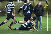 Saturday 3rd March 2012; Gary Chan scores the opening try during the Medallion Shield semi-final between Wallace High School and Dromore High School at Osborne Park, Belfast. <br /> Picture credit: John Dickson / DICKSONDIGITAL