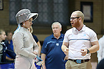 12 February 2017: UNC's Jackie Litynski (left) with coach Will Randolph (right) during Saber. The University of North Carolina Tar Heels played the Northwestern University Wildcats at Card Gym in Durham, North Carolina in a 2017 College Women's Fencing match. UNC won the dual match 15-12 overall, 5-4 Foil, 5-4 Epee, and 5-4 Saber.