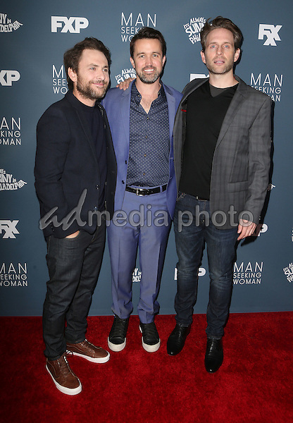 "03 January 2017 - Los Angeles, California - Charlie Day, Rob McElhenney, Glenn Howerton. Premiere Of FXX ""It's Always Sunny In Philadelphia"" Season 12 And ""Man Seeking Woman"" Season 3 held at Fox Bruin Theatre. Photo Credit: F. Sadou/AdMedia"