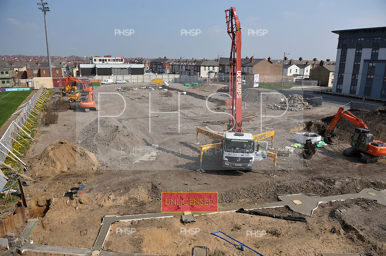 Construction of the new South Stand development at Blackpool FC's Bloomfield Road ground