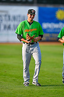 Ryan Hinchley (17) of the Great Falls Voyagers walks onto the field before the game against the Ogden Raptors in Pioneer League action at Lindquist Field on August 18, 2016 in Ogden, Utah. Ogden defeated Great Falls 10-6. (Stephen Smith/Four Seam Images)